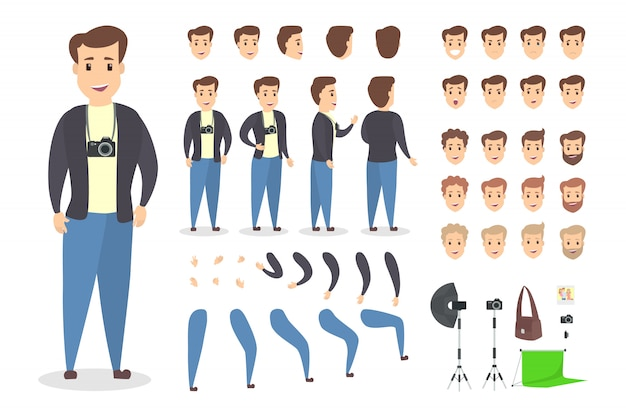 Handsome photographer character set for animation with various views, hairstyles, emotions, poses and gestures.
