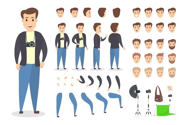 다양한 전망, 헤어 스타일, 감정, 포즈 및 제스처로 애니메이션을위한 잘 생긴 사진 작가 캐릭터 세트.