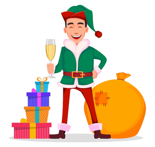 Handsome santa claus helper elf.