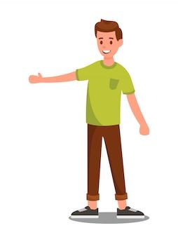 Handsome smiling teenager, boy color illustration