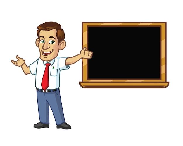Handsome teacher explain subject next to black board