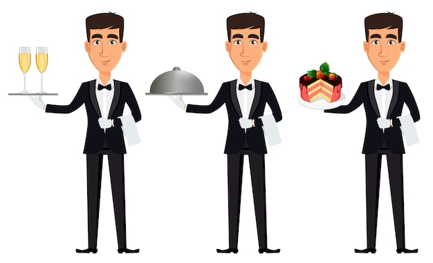 Handsome waiter, set of three poses