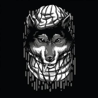 Handsome wolves black and white illustration