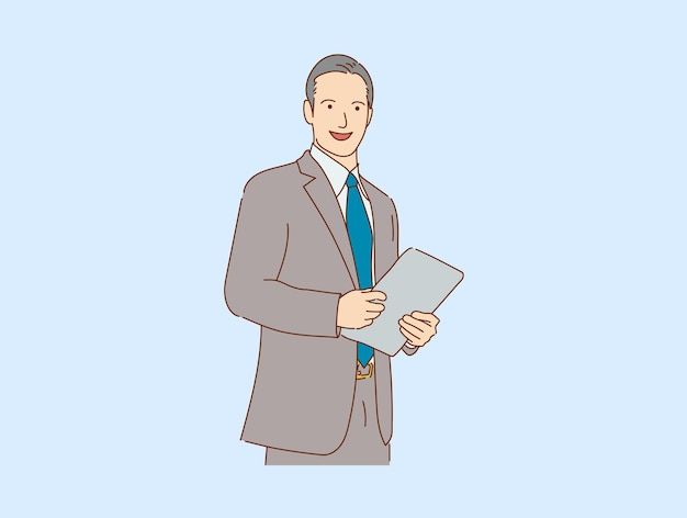 Handsome young  businessman happy smiling standing  isolated , vector