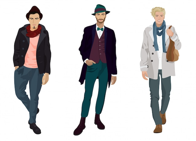 Handsome young guys in fashion and casual clothes isolated.