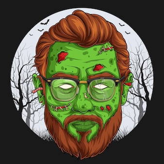 Handsome zombie face over full moon scary halloween character