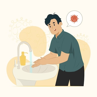 Концепция мытья рук предотвращает отскок эпидемии