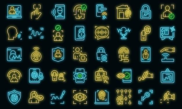 Handwriting identification icons set vector neon