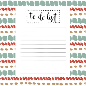 Handwriting to do list. vector cute blank with lettering