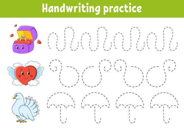 Handwriting pactice. education developing worksheet. activity page.