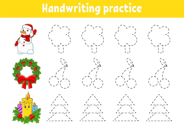 Handwriting pactice illustration