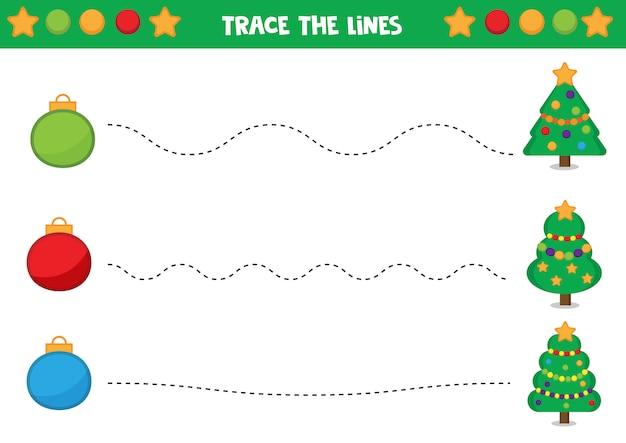 手書きの練習。クリスマスボールとモミの木。子供のための教育用ワークシート。子供向けのゲーム。