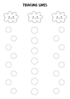 귀여운 눈 구름을 가진 아이들을 위한 필기 연습. 추적 라인.