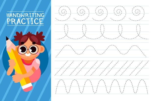 Illustrazione di pratica della scrittura a mano