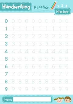 Handwriting practice numbers worksheet