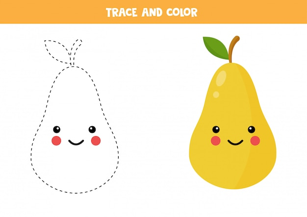 Handwriting practice for preschoolers with cute kawaii pear.