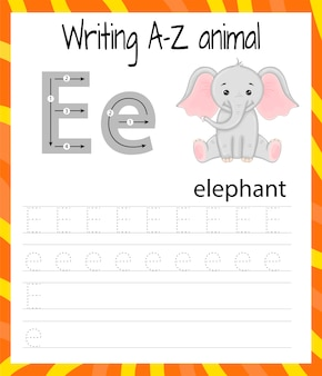 Handwriting practice sheet. basic writing. educational game for children. learning the letters of the english alphabet for kids. writing letter e
