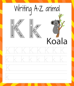 Handwriting practice sheet. basic writing. educational game for children. learning the letters of the english alphabet for kids. writing letter k