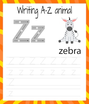 Handwriting practice sheet. basic writing. learning the letters of the english alphabet