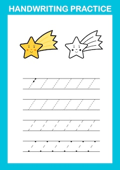 Handwriting practice sheet illustration vector