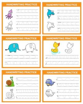 Handwriting practice sheet illustration