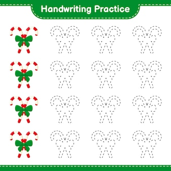 Handwriting practice. tracing lines of candy canes with ribbon. educational children game