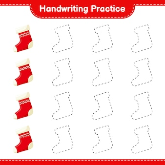 Handwriting practice. tracing lines of christmas stocking. educational children game