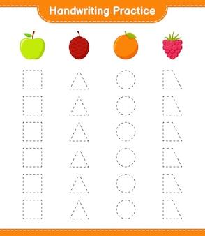 Handwriting practice. tracing lines of fruits. educational children game, printable worksheet