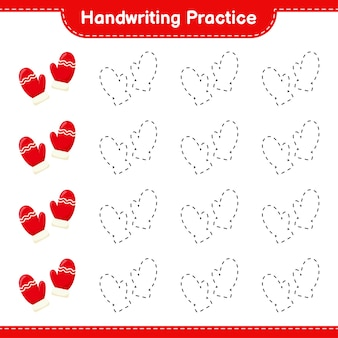 Handwriting practice. tracing lines of mittens. educational children game