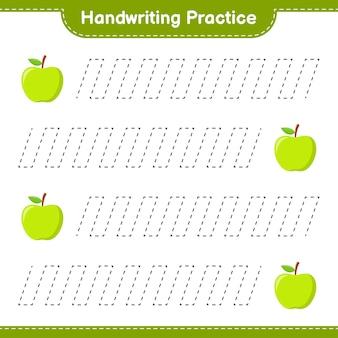 필기 연습. apple의 추적 라인. 교육용 어린이 게임, 인쇄 가능한 워크 시트