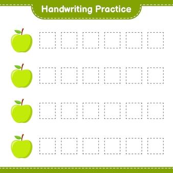 手書きの練習。アップルのトレースライン。教育的な子供向けゲーム、印刷可能なワークシート