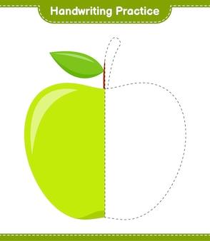Практика почерка. трассировка линий apple. развивающая детская игра, лист для печати