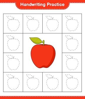 手書きの練習アップル教育の子供たちのゲームの印刷可能なワークシートの行をトレースする