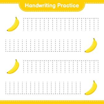 手書きの練習。バナナのトレースライン。教育的な子供向けゲーム、印刷可能なワークシート