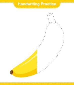 Практика почерка. трассировка линий банана. развивающая детская игра, лист для печати
