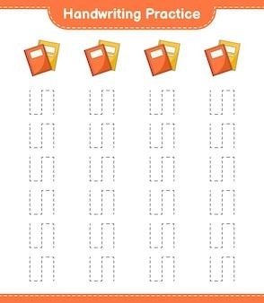 手書きの練習。本のトレースライン。教育的な子供向けゲーム、印刷可能なワークシート、ベクターイラスト