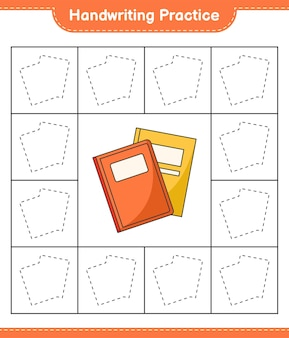手書きの練習本の行をたどる教育的な子供たちのゲームの印刷可能なワークシート
