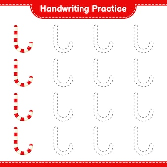 Почерк практика. трассировка линий леденцов. развивающая детская игра