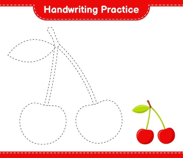 Практика почерка. трассировка линий вишни. развивающая детская игра, лист для печати