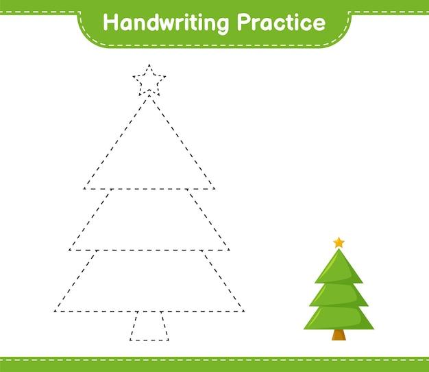 手書きの練習。クリスマスツリーのトレースライン。教育的な子供向けゲーム、印刷可能なワークシート