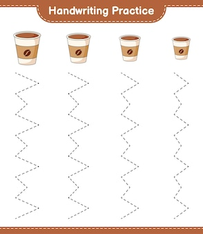 필기 연습 커피 컵 교육용 어린이 게임 인쇄용 워크 시트의 추적 라인