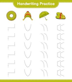 Практика рукописного ввода трассировка линий пончика тапочки зонтик и шляпа обучающая детская игра