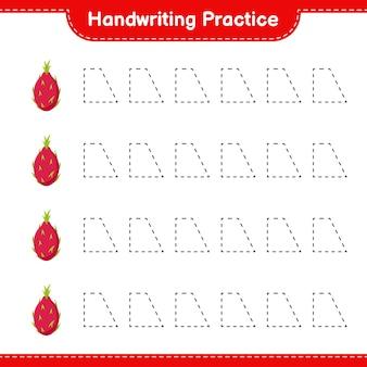 手書きの練習。ドラゴンフルーツのトレースライン。教育的な子供向けゲーム、印刷可能なワークシート