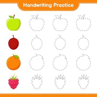 手書きの練習。果物のトレースライン。教育的な子供向けゲーム、印刷可能なワークシート、イラスト