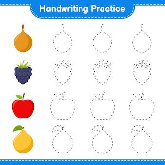 Практика почерка. трассировка линий фруктов. развивающая детская игра, лист для печати, иллюстрация