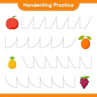 手書きの練習。果物のトレースライン。教育的な子供向けゲーム、印刷可能なワークシート