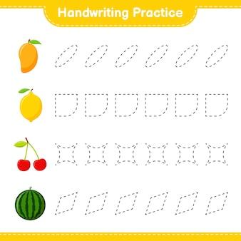 Практика почерка. трассировка линий фруктов. развивающая детская игра, лист для печати