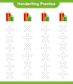Почерк практика. трассировка линий подарочных коробок. развивающая детская игра, лист для печати