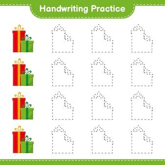 필기 연습. 선물 상자의 추적 라인. 교육용 어린이 게임