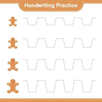 Почерк практика. трассировка линий пряничного человечка. развивающая детская игра, лист для печати